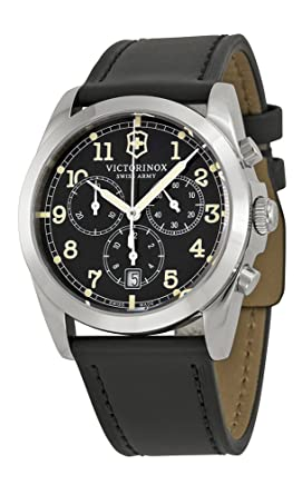 Victorinox Swiss Army Mens 241588 Black Leather Watch