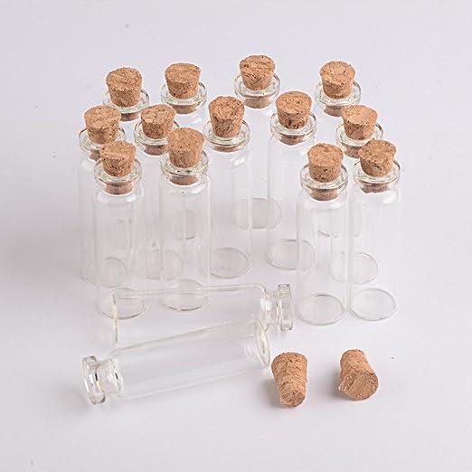 20Pcs 11X32Mm Pequeño Mini Botellas De Vidrio Transparente De Corcho viales vacíos 2Ml S9P4