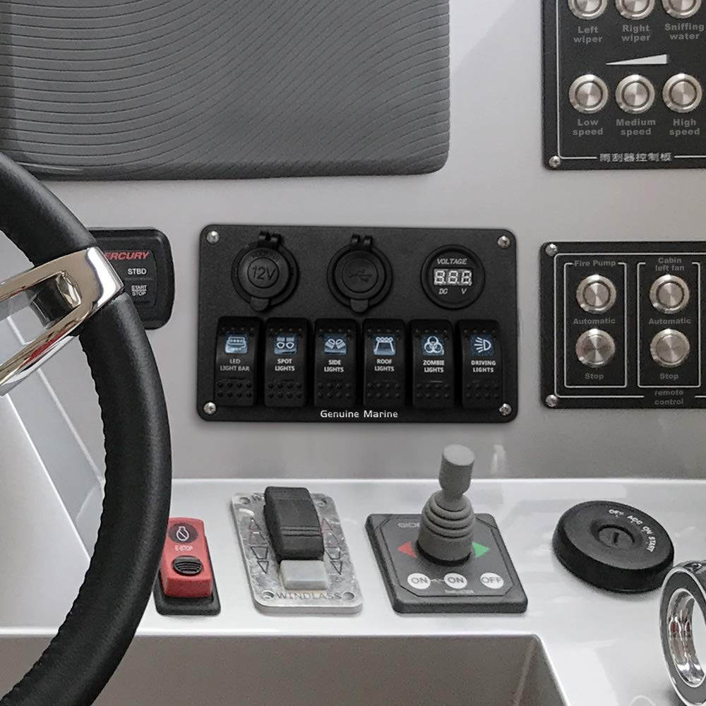 6 Gang Boat Rocker Switch Panel Red Digital Voltmeter Hummer Fuse Box In Amazon Display Dual 5v 31a Usb Charger Socket Dc 12v Slot Blue Led Lighting Labeled
