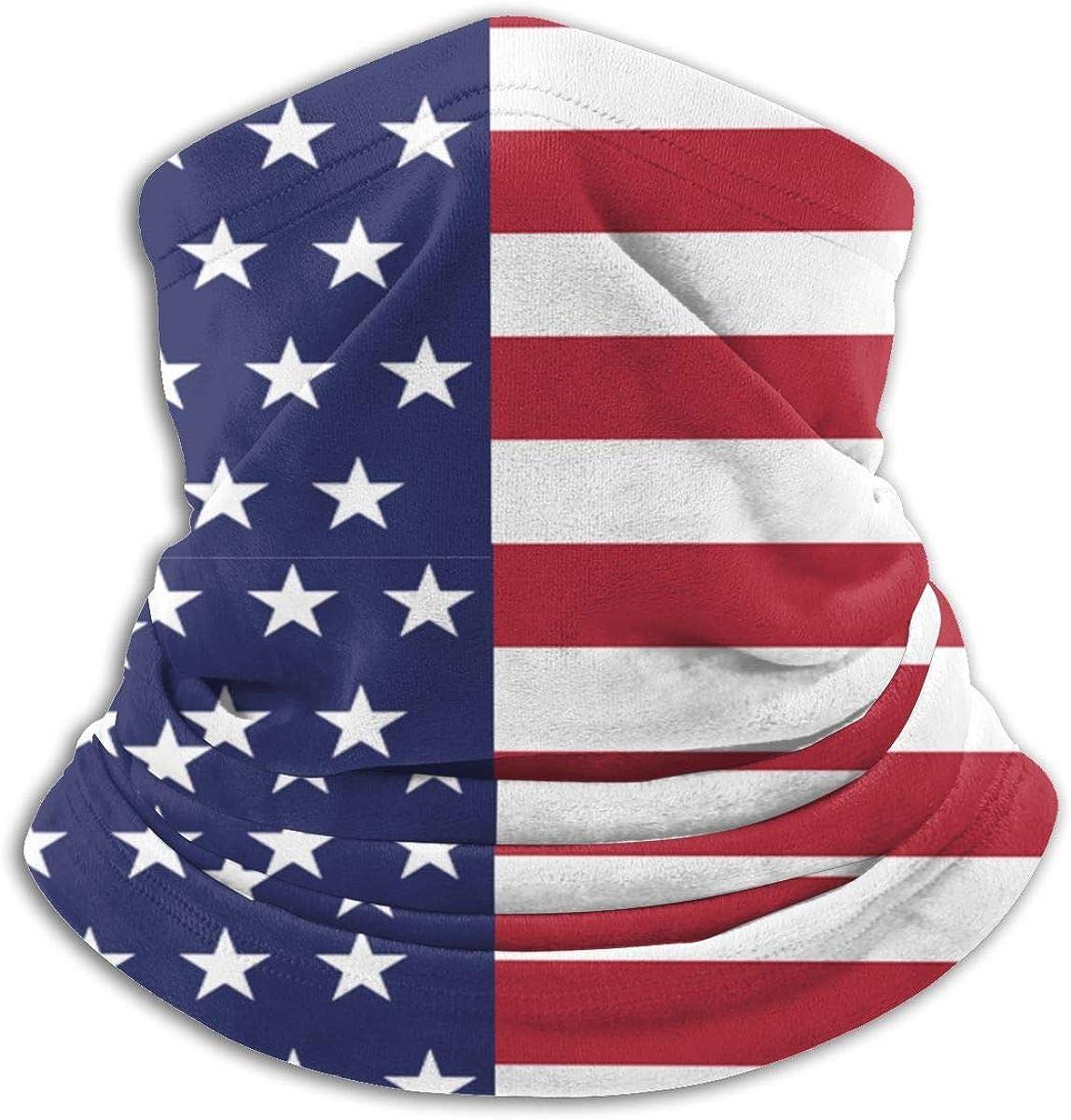 Kimisoy USA American Flag Neck Gaiter Windproof Face Cover Versatility Neck Warmer Dust-Proof Half Face Shields Soft Headwear Comfort Balaclava for Men Women Kids Black