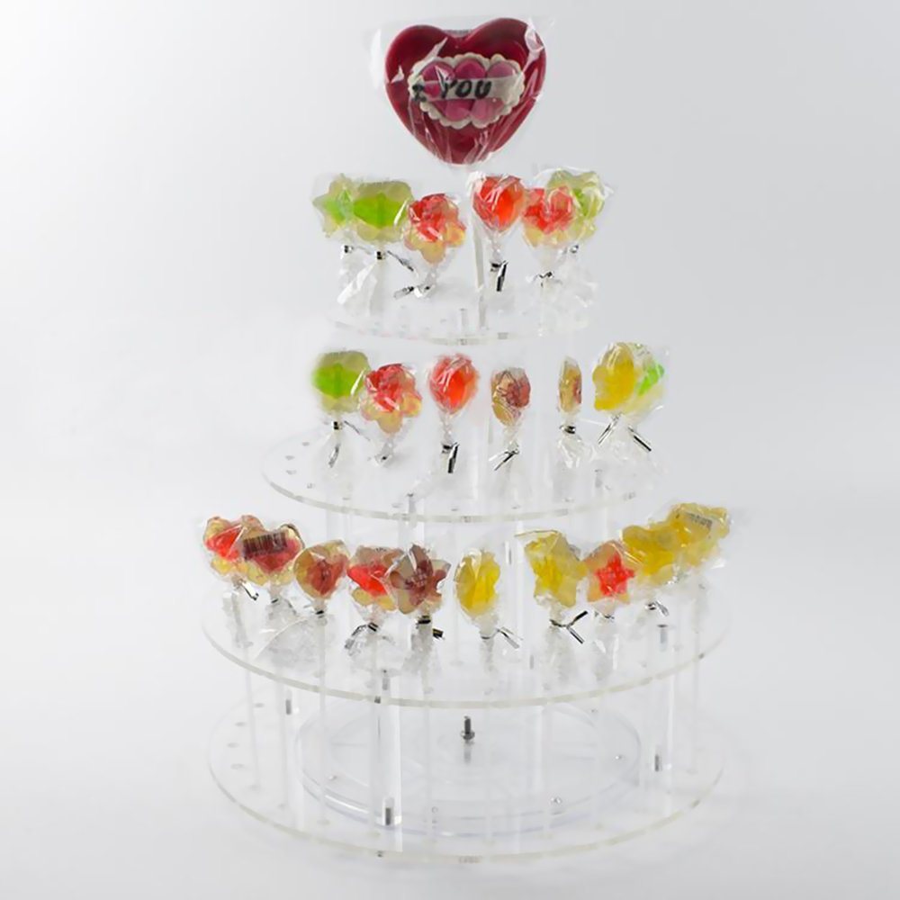 MENGCORE 3-Tier 64 Hole Clear Acrylic Cake Pop Lollipop marshmallow Display Stand holder with Turtable for family gathering Party wedding Halloween candy (Round)