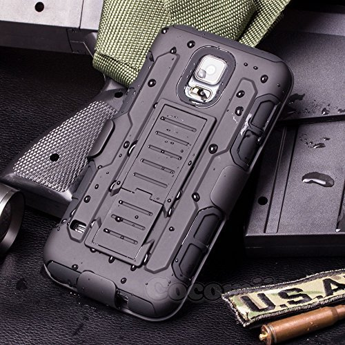 Cocomii Robot Armor Galaxy S5 Active Case NEW [Heavy Duty] Premium Belt Clip Holster Kickstand Shockproof Bumper [Military Defender] Full Body Rugged Cover for Samsung Galaxy S5 Active (R.Black)