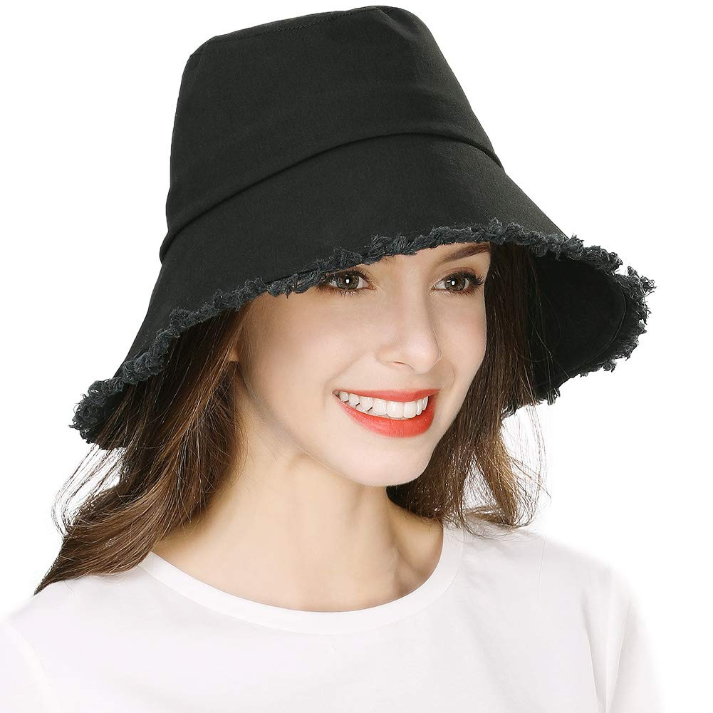 Fashion Beach Bucket Hat for Women Foldable Packable Fringed Brim Summer Sun UV Protection Fishing Travel Black