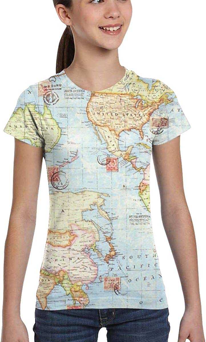 L6Nv4o@A Girls Short Sleeve The Earth Shirts XS-XL Casual Blouse Clothes
