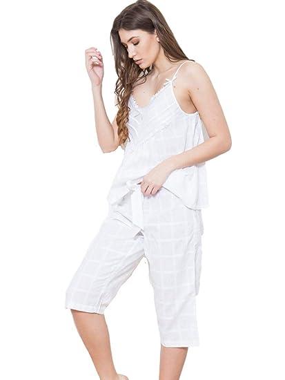 Cottonreal Pelia 100% Cotton Lawn Jacquard Spaghetti Strap Capri Pyjama Set  (X Small) 9a51099b6