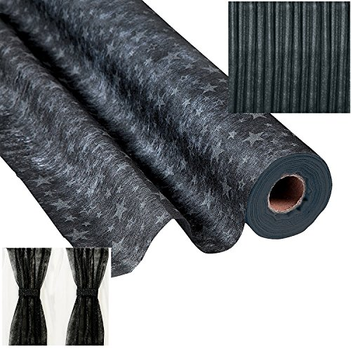 Black with Silver Stars Gossamer Roll 100 FT X 3 FT Wedding Aisle Decoration Table Cover NEW by FX -