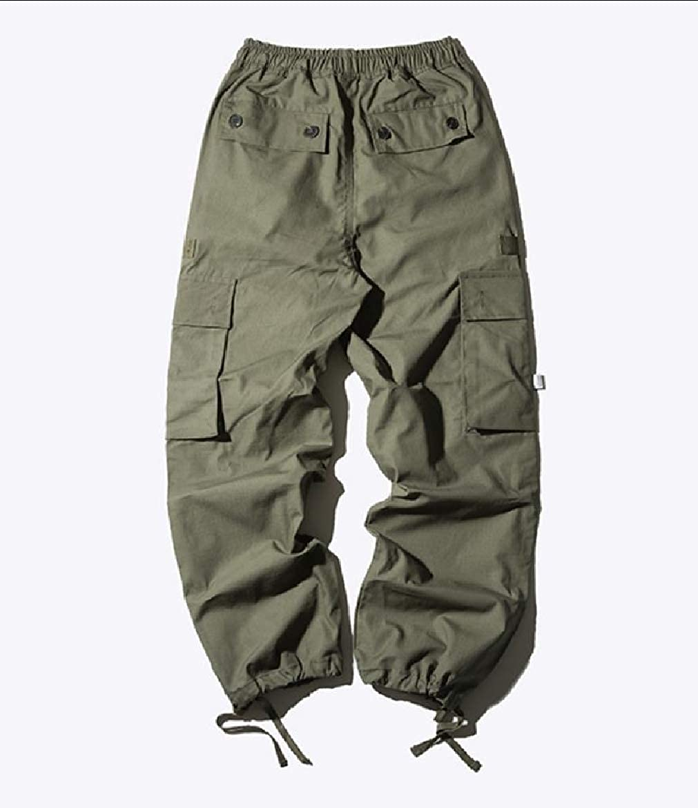 YUNY Men Relaxed Unisex Loose Fit Autumn Rugged Wear Cargo Work Pant Green S