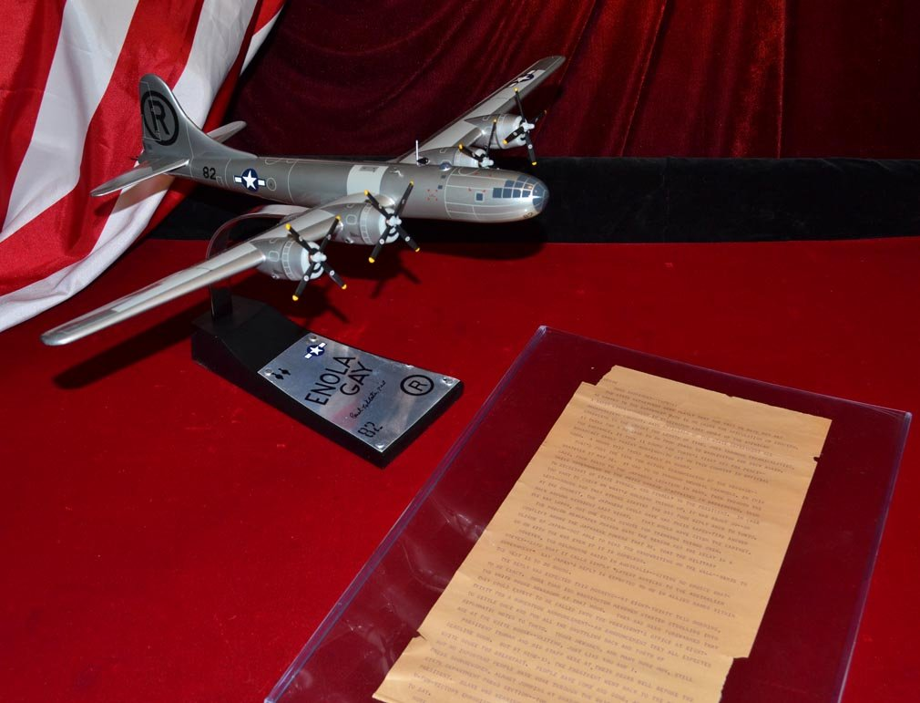 ENOLA GAY bomber model made from REAL PIECE of WWII B 29 Signed by Pilot General Paul Tibbets, Danbury Mint Model, COA, AP wire, Newspaper