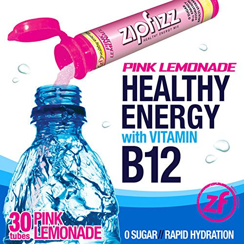 Zipfizz Pink Lemonade Healthy Energy Drink Mix - Transform Your Water Into a Healthy Energy Drink - 30 Pink Lemonade Tubes ()