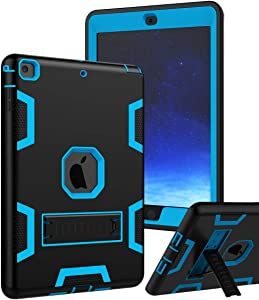 TIANLI Case for iPad Air Three Layer Plastic and Silicone Protection Heavy Duty Shockproof Protective Cover for iPad Air 9.7 inch (Black Blue)