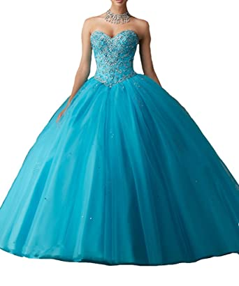 MCandy Womens Sweetheart Vestidos DE 16 Royal Ball Prom Gowns Quinceanera Dresses 0 US Blue