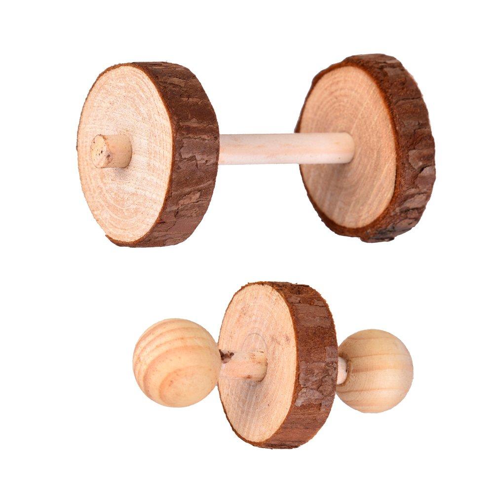 Juguetes de madera para masticar pequeños animales, mancuernas pequeñas, juguetes para hámsters conejos, juguetes para aprender a jugar: Amazon.es: ...