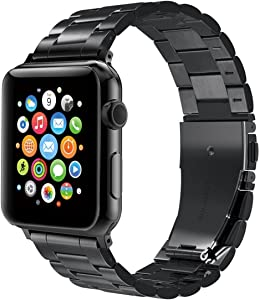 Compatible with Apple Watch Band for 38mm 40mm for iWatch Bands Women Men Series 4/3/2/1 Stainless Steel Metal Strap Replacement Band-Business Black