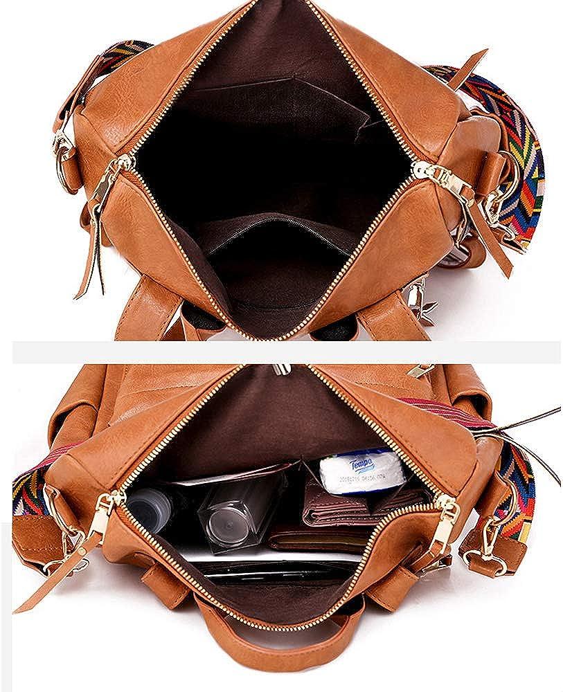 Women Fashion Backpack Purse Convertible Daypack Colorful Strap Shoulder Handbags