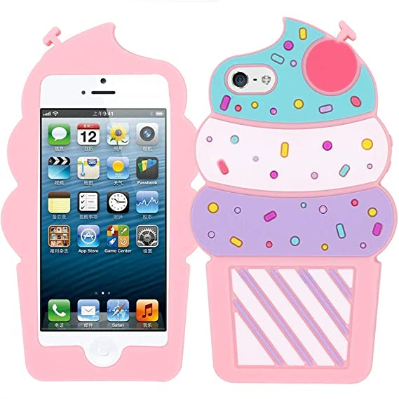 save off a0518 db424 iPhone 5C 3D Case, BEFOSSON Cute 3D Cartoon Ice Cream iPhone 5 5S 5C SE  Case, Vivid Shaped Cupcake Soft Silicone Rubber Protective Phone Case Cover  ...