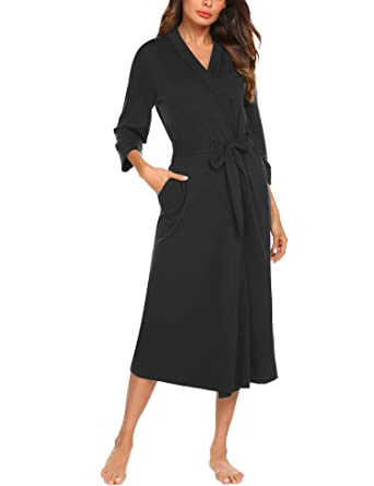 a3d7999953 MAXMODA Women Lightweight Kimono Full Length Spa Cotton Robe (Black
