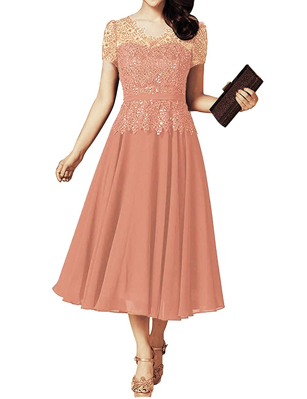 bluesh JINGDRESS Tea Length V Neck Mother of The Bride Dresses with Cap Sleeves A Line Pleated Evening Cocktail Gowns