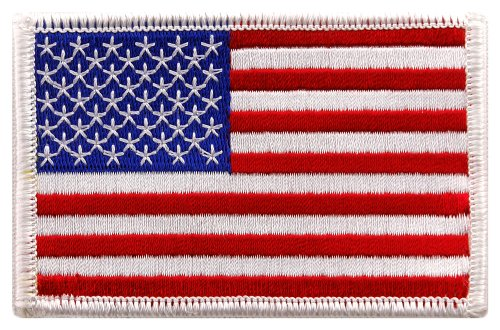- American Flag Embroidered Patch White Border United States Iron-On Military