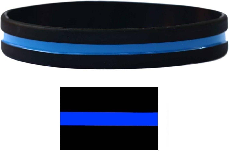 Delgada línea azul Policía Memorial pulsera – tamaño adulto: Amazon.es: Oficina y papelería