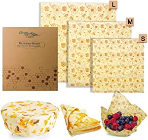 Beeswax Wrap, Super Sticky (6 pack) Premium Organic Eco-Friendly Bees Wax Reusable Plastic Free Biodegradable Natural Alternative Food Storage Wraps Washable Cling Covers (Bee & Flowers, 6 Pack)