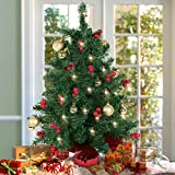 best choice products 22 tabletop pre lit christmas tree battery operated with red berries and gold ornaments - Table Christmas Tree