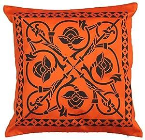 SouvNear Throw Pillow Cover 18 x 18 Inch Zippered Cushion Cover - Orange Black Faux Silk ...