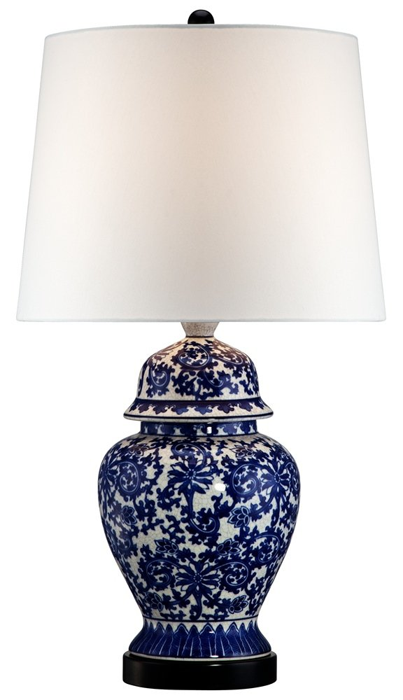 "Asian Table Lamp Temple Porcelain Jar Blue Floral White Drum Shade for Living Room Family Bedroom Bedside Nightstand - Regency Hill - Overall: 25"" high. Base is 6"" wide. Shade is 9"" across the top x 15"" across the bottom x 10 1/2"" high. Uses one maximum 150 watt standard-medium base bulb (not included). On-off socket switch. Ginger jar lamp from Regency Hill. - lamps, bedroom-decor, bedroom - 610ActWzwCL -"