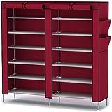 Katomi, 12 livelli con copertura antipolvere armadio-Armadietto Organizer, colore: rosso vino