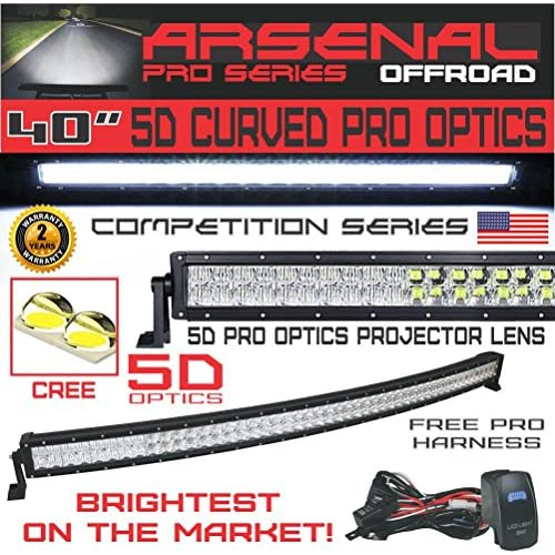 New #1 2018 5D 40 inch Curved Pro Optics 228W 5D= 390W 39,000LM CREE LED Light Bar by Arsenal Offroad TM Spot Flood combo beam for Xtreme Offroad JEEP Trucks UTV SUV 4x4 Polaris Razor 1000 Raptor