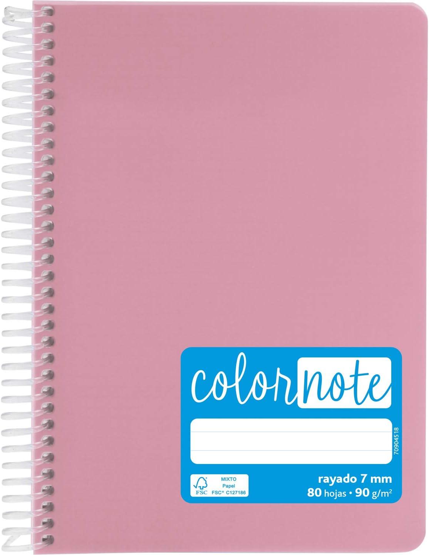 Grafoplás 88533253. Cuaderno con Espiral A5, Rayado 7 Mm, 80 Hojas, 90 g, Rosa, Tapa Polipropileno, Serie ColorNote