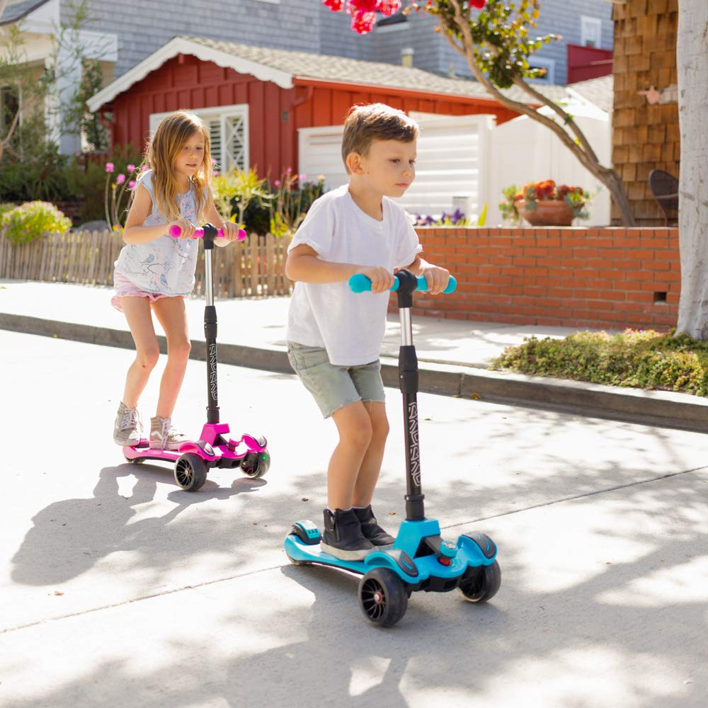 6KU Kids Kick Scooter with Adjustable Height, Lean to Steer, Flashing Wheels for Children 3-8 Years Old Pink by 6KU (Image #3)