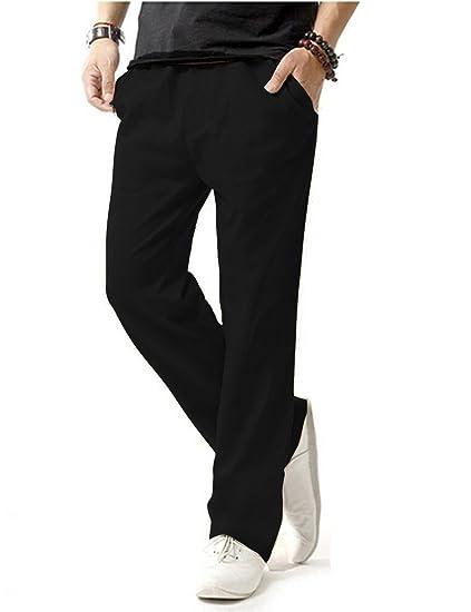 donhobo Herren Hosen Leinen mit Seitentaschen Lässige Hose
