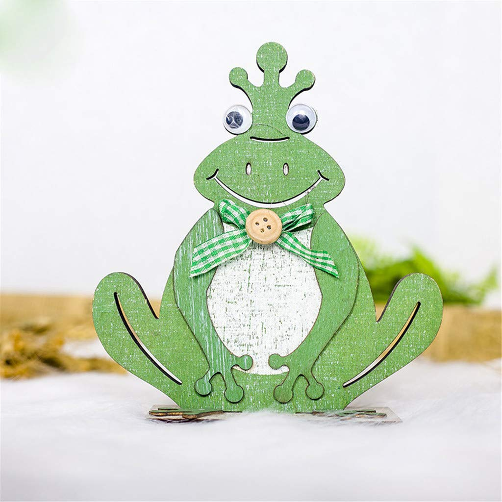 Sunyastor Happy Easter Easter Gift Easter Decorations Wooden Toad Shapes Ornaments Craft Gifts Pendant Wall Door Hanging Ornament Home Decoration