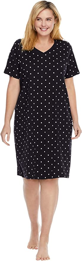 Dreams /& Co Womens Plus Size Short T-Shirt Lounger Nightgown