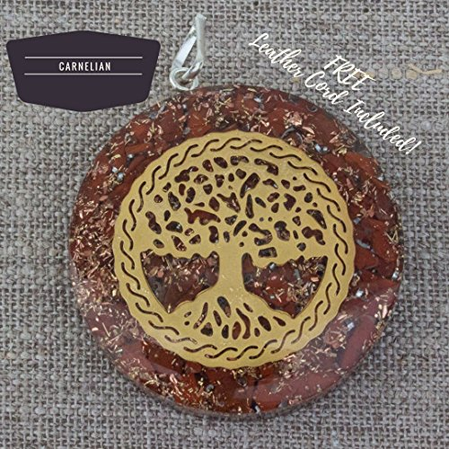 Orgonite Chakra Energy Web Tree of Life Orgone Pendant – Revitalization and Relaxation Chi-Lapis Lazuli, Carnelian Crystal necklace- Brass and Copper Tesla Coil Embedded- Unisex (Chi Energy Pendant)