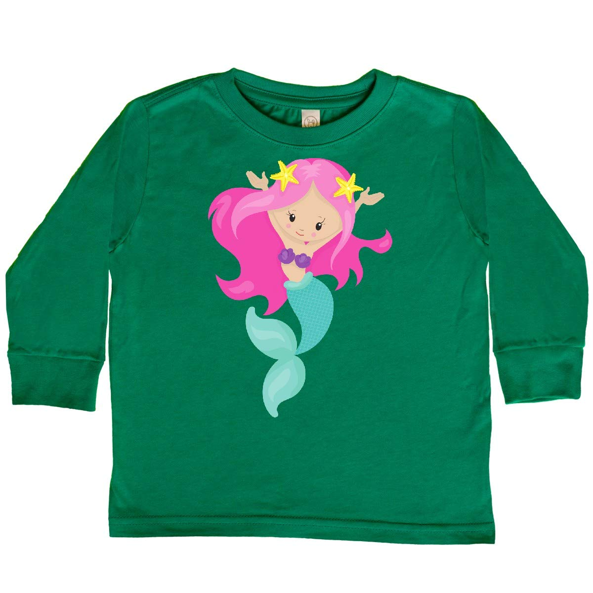 inktastic Pretty Mermaid with Long Pink Hair and Toddler Long Sleeve T-Shirt