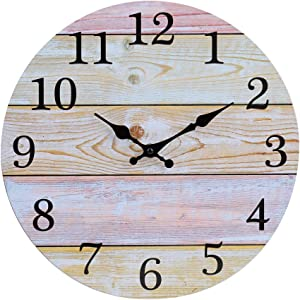 "jomparis 12"" Rustic Country Tuscan Style Wooden Decorative Round Wall Clock Shiplap Farmhouse Wall Clock"