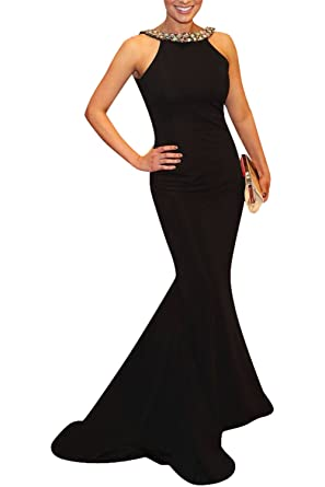 Marsen Womens Halter Beaded Prom Dresses Open Back Long Mermaid Evening Gown Black Size XS
