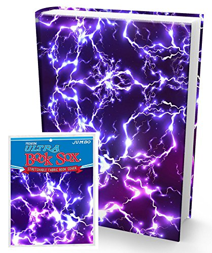 Book Sox Stretchable Book Cover: Jumbo Purple Lightning. Fits Most Hardcover Textbooks up to 9 x 11. Adhesive-Free, Nylon Fabric School Book Protector. Easy to Put On. Washable & Reusable Jacket. Photo #1
