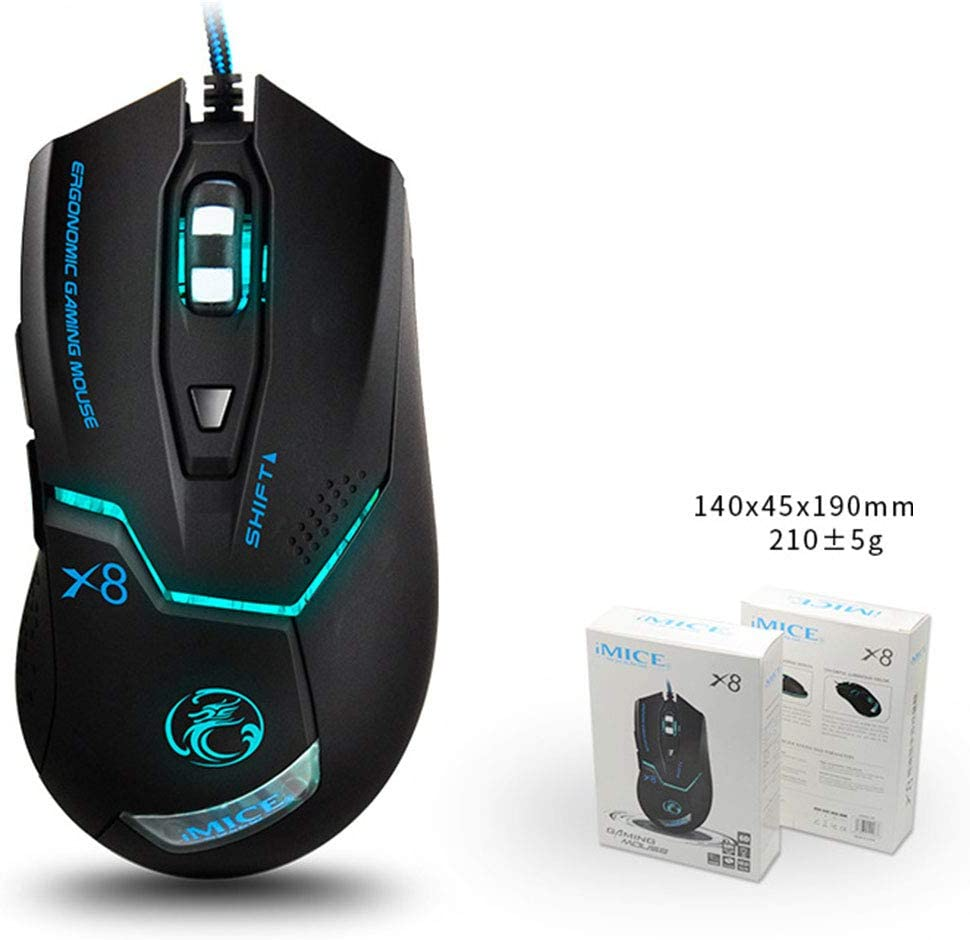 Pearlshop Gaming Mouse Wired with Colourful Led Breathing Lamp 3200 DPI 6 Buttons Ergonomic Gaming Mouse for PC 4 Colors Can be Choose Color : Elegant Black+e-Commerce Box