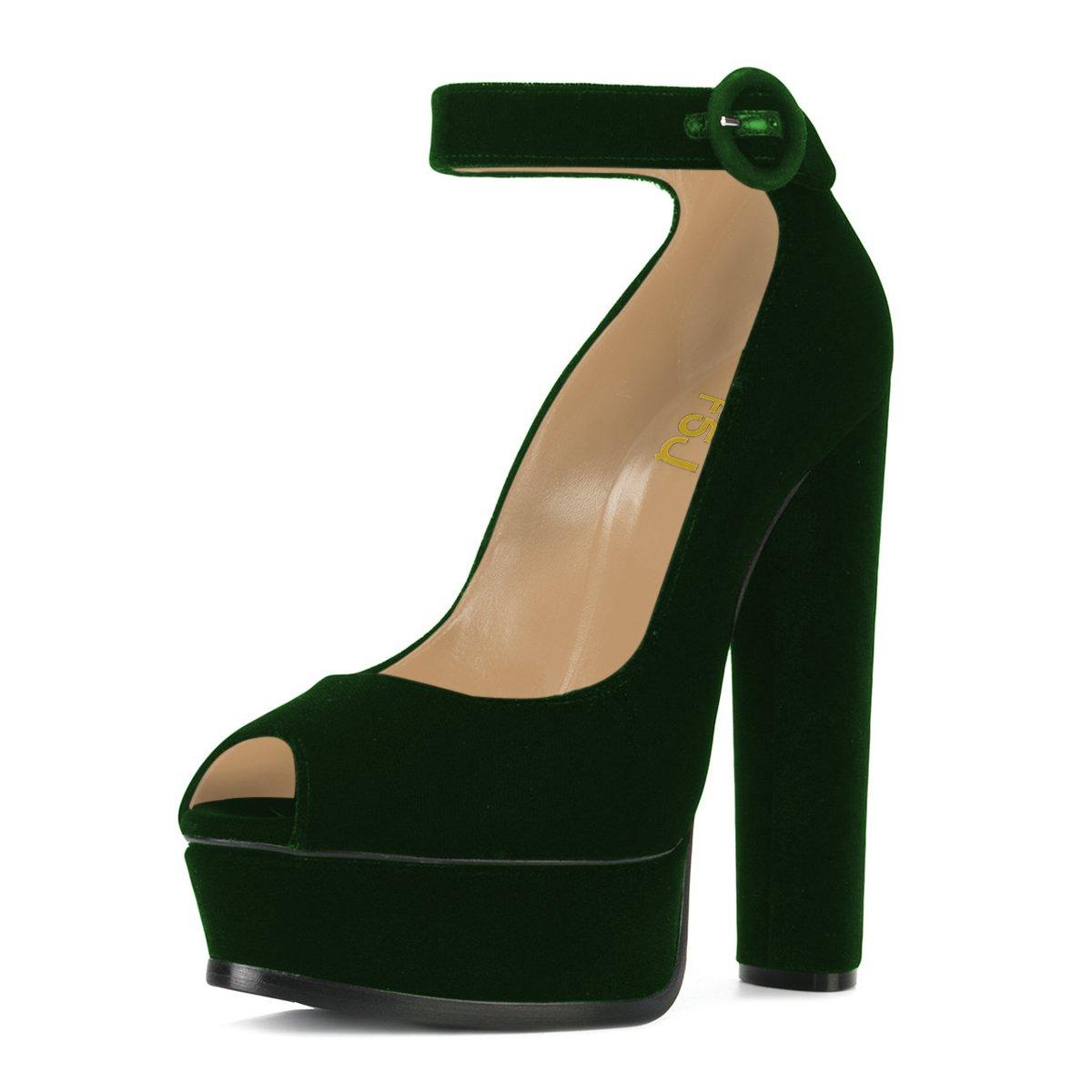 3f3de55f8eb2 Women ankle strap platform pumps peep toe chunky high heels faux suede  party sandals size us
