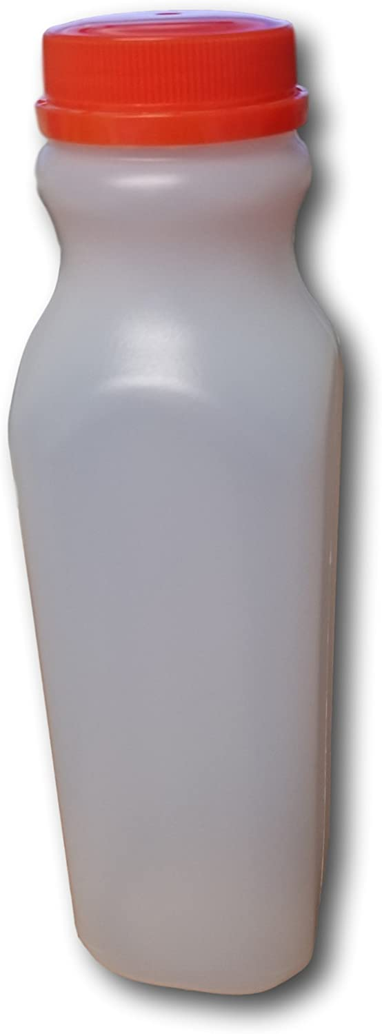 16 oz. / 1 Pint Empty HDPE Plastic Juice / Milk Bottles with Tamper Evident Caps by AM Bottle Supply- Set of 15 Bottles and 15 Caps