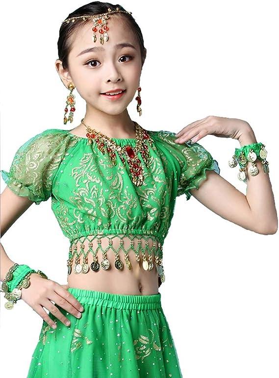 Grouptap Bollywood Indien Enfants Fille Folk bharatanatyam Danse du Ventre Vert Jupe sup/érieure 2 pi/èces Enfants Performance Costume Robe Tenues