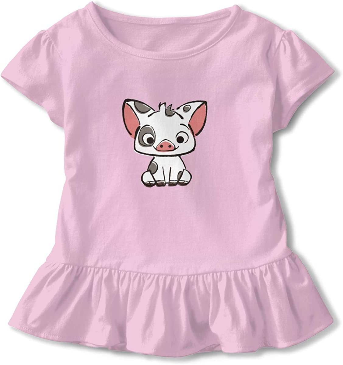 Richard Moana Pua The Pot Bellied Pig Little Girls Baseball Ruffle Short Sleeve Cotton T Shirt Top 2-6T Pink3T
