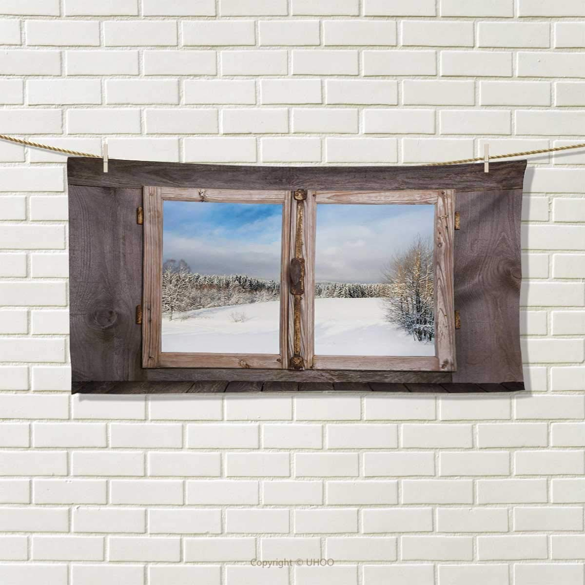 Rustic,Hair Towel,Winter Season Scene from a Wooden Window of Country House Snow Vintage Design,Quick-Dry Towels,Umber White Blue Size: W 8'' x L 23.5''