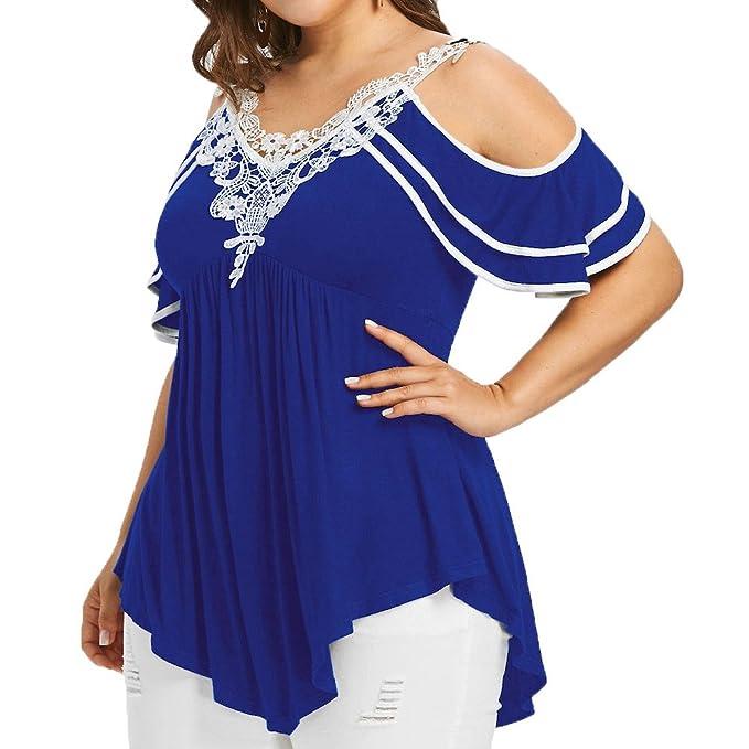 47e354f0b8f8 Weant Abbigliamento Donna Tshirt,Maglietta Donne Manica Taglie Forti Spalla  Nuda Tops Pizzo Orlo Irregolare
