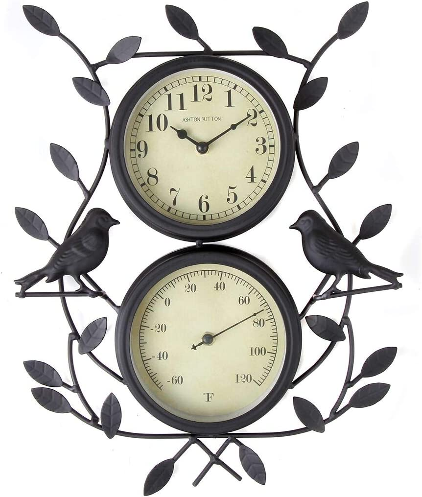 Lily's Home Vintage Inspired Sparrow Bird and Vines 2 in 1 Combo Outdoor Wall Clock Thermometer, Black Wrought Iron