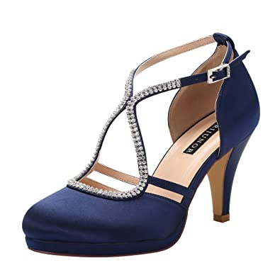 f69adaaae0 ERIJUNOR E0260D Women Comfort Low Heel Closed-Toe Ankle Strap Platform  Satin Bridal Wedding Shoes