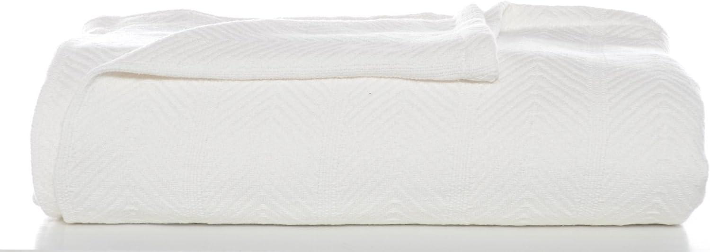 Eddie Bauer 200614 Herringbone Cotton Blanket, Twin, White