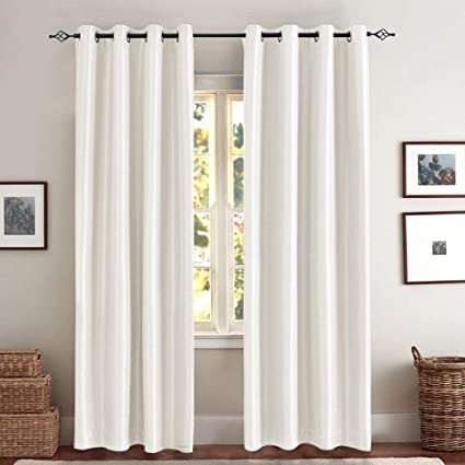 Jinchan White Blackout Curtains Living Room Anti Bacteria Luxury Faux Silk  Blackout Window Curtains Bedroom